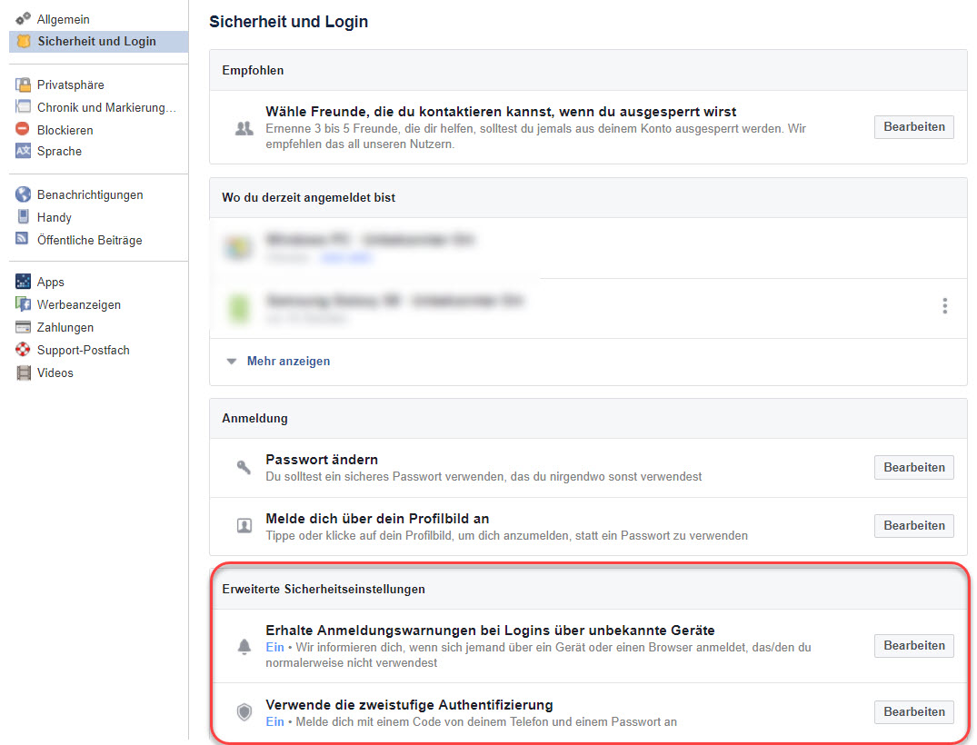 facebook login über handy